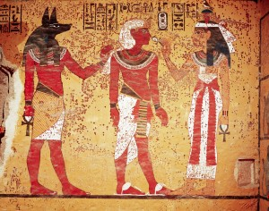 Wall Painting of Tutankhamun Accompanied by Anubis and Nephthys